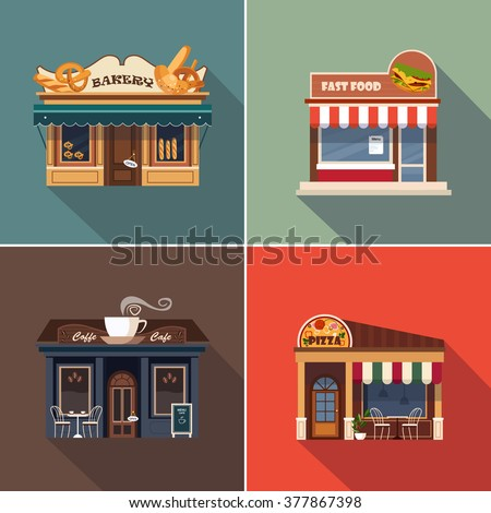 Stores and Shop Facades. Vector Illustration Collection - stock vector