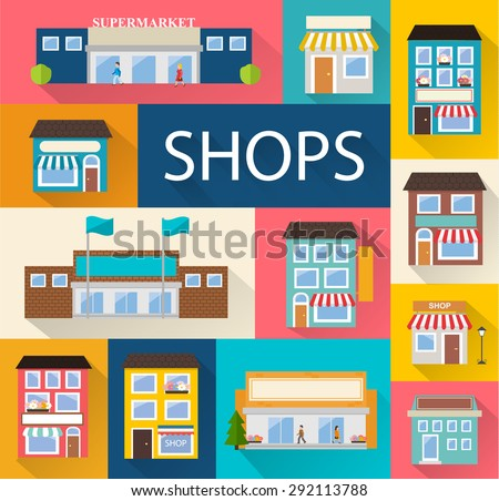 Stores and shops buildings icons set with long shadow isolated, vector illustration  - stock vector