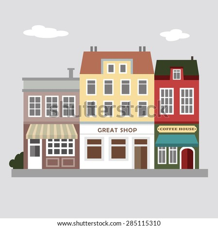 Stores flat. Houses icons. Houses flat design. Town vector. Houses vector. City illustration. Urban vector illustration background. Old houses. Vintage street view. Flat design. Houses. Web banner.  - stock vector