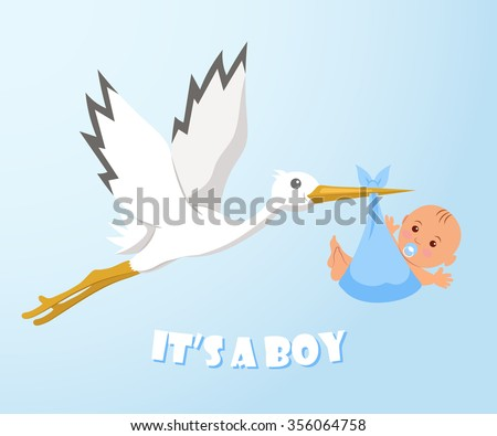 Stork and baby. Stork carries a baby in a diaper. - stock vector