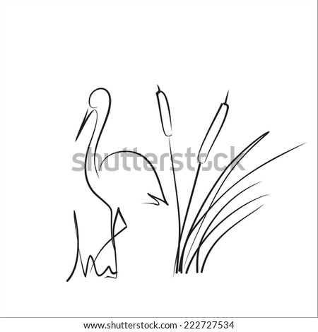 Stork and bamboo - stock vector