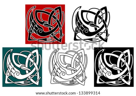 Stork bird in celtic ornament for embellishment or ethnic design. Jpeg version also available in gallery - stock vector