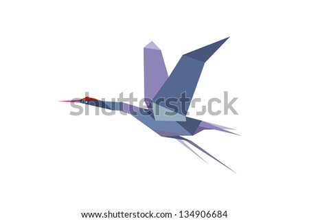 Stork bird in origami style. Jpeg version also available in gallery - stock vector