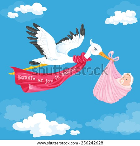 Stork carrying a baby girl. Vector illustration. - stock vector