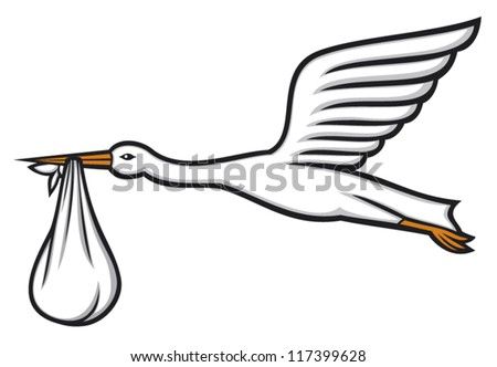 stork carrying a baby in its beak (stork flying with bundle, stork delivering a baby) - stock vector