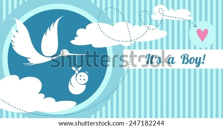 Stork carrying a cute baby. Child delivery by a white stork - stock vector