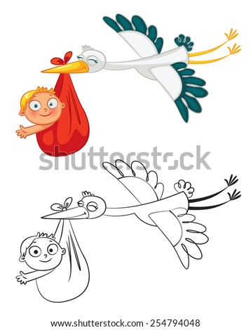 Stork carrying a cute baby. Funny cartoon character. Coloring book. Vector illustration. Isolated on white background. Set - stock vector