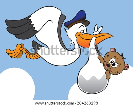 Stork delivering baby bear to new home - stock vector