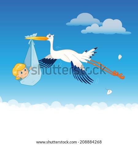 Stork Delivering Baby Flying Stork Delivery Baby. Vector Illustration. - stock vector
