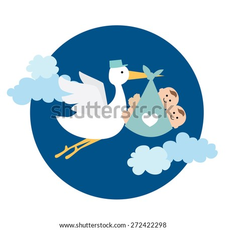 stork delivering twin baby boy - stock vector