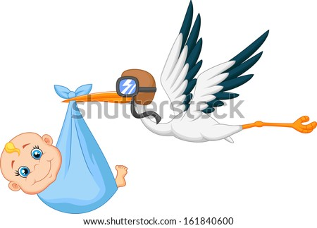 Stork with baby - stock vector