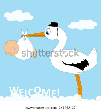 stork with baby and blue sky with clouds