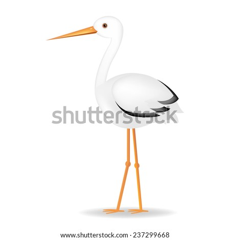 Stork With Gradient Mesh, Vector Illustration - stock vector