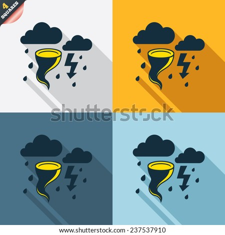 Storm bad weather sign icon. Clouds with thunderstorm. Gale hurricane symbol. Destruction and disaster from wind. Insurance symbol. Four squares. Colored Flat design buttons. Vector - stock vector