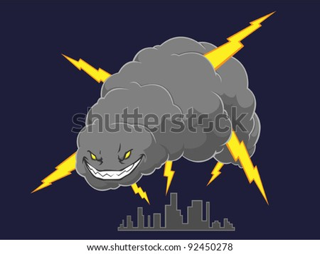 Storm Cloud Attacking A City - stock vector