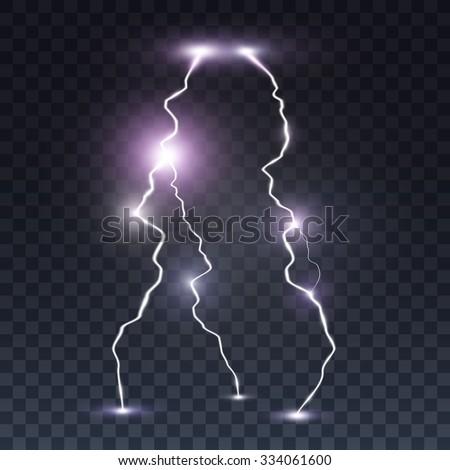 Storm lightning bolt. Isolated on transparent black background. Vector illustration, eps 10. - stock vector