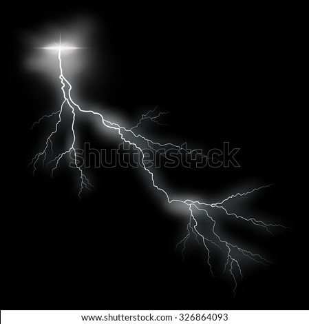 Storm vector lightning bolt on black background
