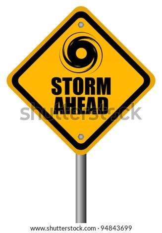 Storm warning sign, vector illustration - stock vector