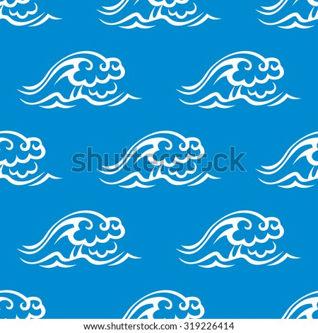 Stormy ocean waves seamless pattern with white waves on blue background,  for marine theme or textile design