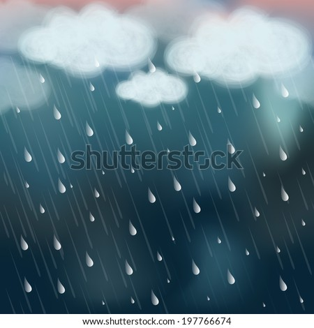 Stormy weather background with raining.  - stock vector