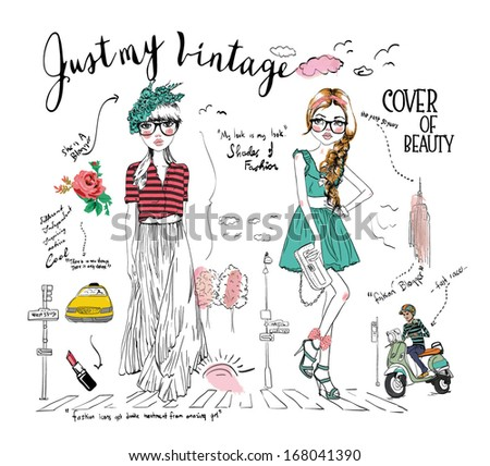 story board illustration fashion girl - stock vector