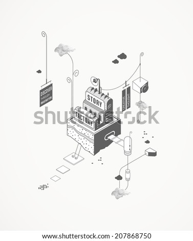 Story Factory - stock vector