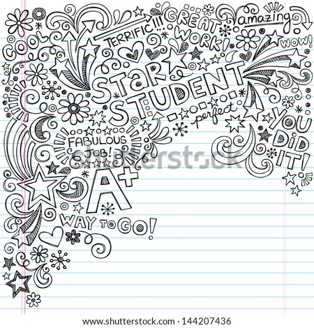 Straight A Star Student Scribble Inky Doodles Back To School Notebook Doodle Design Elements On