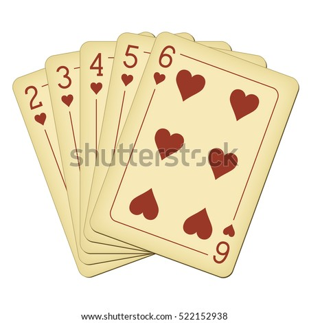 Straight Flush of Hearts from Two to Six - vintage playing cards vector illustration