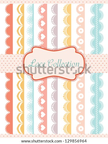 straight lace collection. vector illustration - stock vector