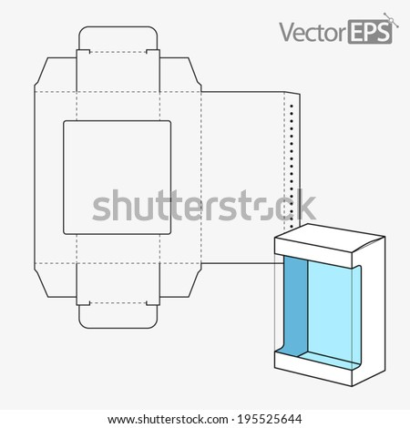 Straight Tuck Window Box - stock vector
