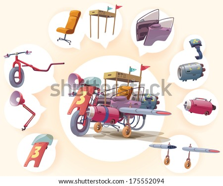 Strange and crazy customized vehicle. It consists of various incompatible parts but looks great. - stock vector