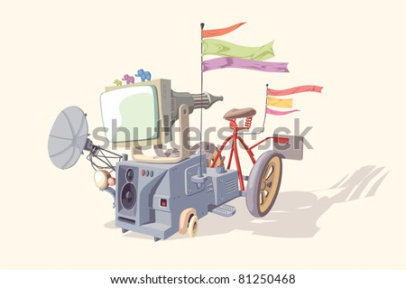 Strange and crazy device no.1. It consists of various incompatible parts and looks great! Editable vector EPS v9.0 - stock vector