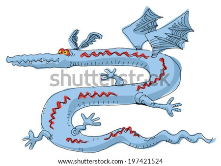 strange and funny dragon - cartoon - stock vector