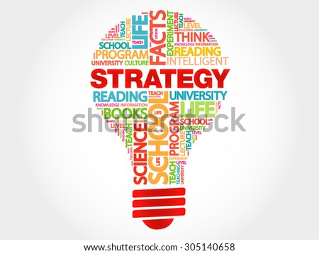 STRATEGY bulb word cloud, business concept - stock vector