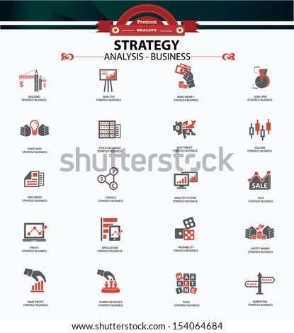 Strategy business and finance concept icons,Red version,vector - stock vector