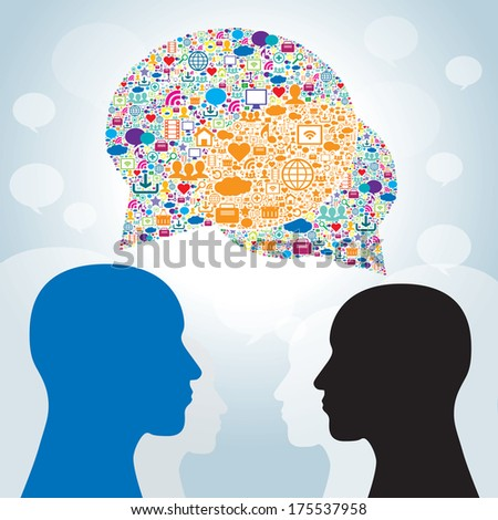 Strategy business communication in social networks  - stock vector
