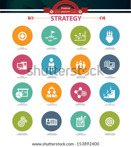 Strategy business concept icons,Colorful version,vector - stock vector