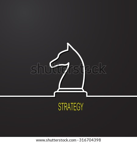 Strategy. Chess symbol on black background - stock vector