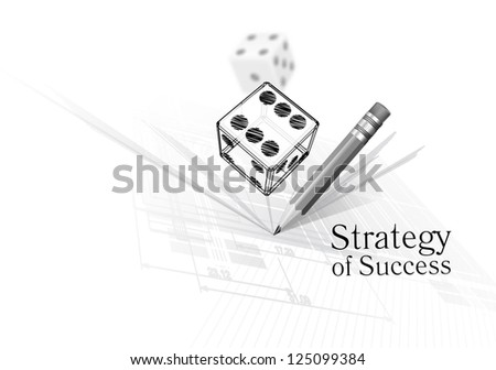 Strategy for success - illustration of dice on calculations drawing background - stock vector