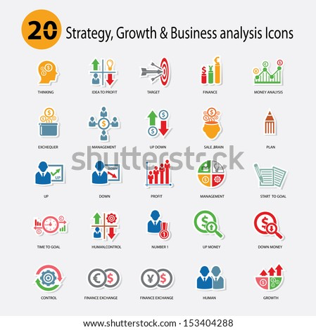 Strategy,Growth & Business analysis Icons,Colorful version,vector - stock vector