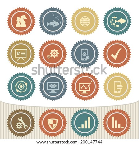 Strategy icon set,Retro button - stock vector