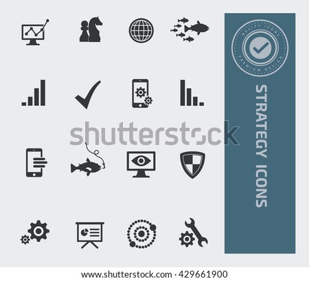 Strategy icon set,vector - stock vector