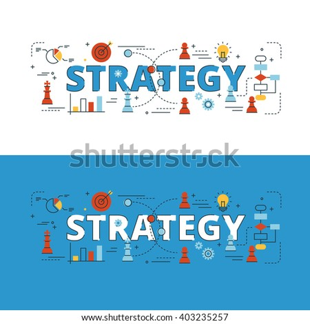 Strategy lettering flat line design with icons and elements for book cover, report header, presentation,illustration, infographics, printing, website banner and landing page.
