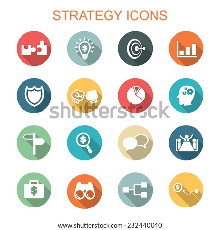 strategy long shadow icons, flat vector symbols - stock vector