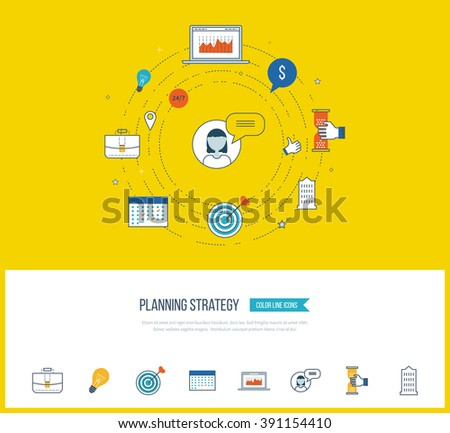 Strategy planning and marketing strategy concept. Investment growth. Planning process. Color icons for data analysis, strategic planning, successful business.  - stock vector