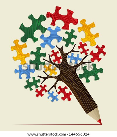 Strategy puzzle piece concept pencil tree. Vector illustration layered for easy manipulation and custom coloring. - stock vector