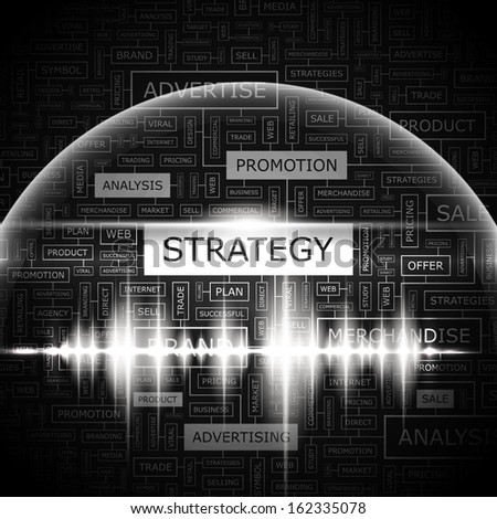 STRATEGY. Word cloud concept illustration. Word cloud collage. Vector illustration. - stock vector