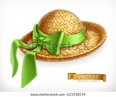 Straw hat 3d vector icon