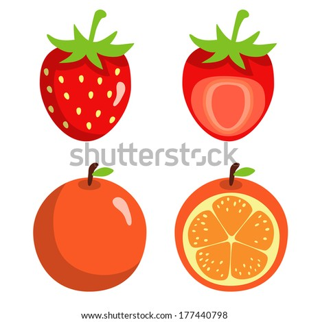 Strawberries and oranges isolated on white background. Abstract design logo. Logotype art - vector  - stock vector
