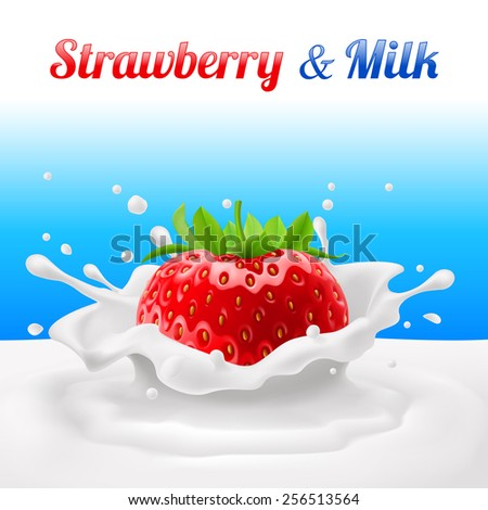 Strawberries dipped in milk with splashes. Drop and sweet, food and fresh and liquid - stock vector